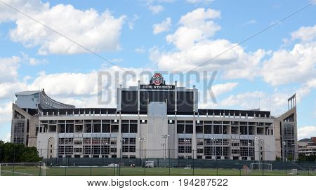 COLUMBUS OH - JUNE 25: Ohio Stadium in Columbus Ohio is shown on June 25 2017. It is the home of the Ohio State University Buckeyes.
