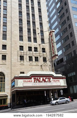 COLUMBUS OH - JUNE 28: The Palace Theater in Columbus Ohio is shown on June 28 2017. It is part of the Leveque tower.