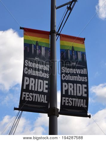 COLUMBUS OH - JUNE 27: A sign for the Stonewall Columbus Pride Festival in Columbus Ohio is shown on June 27 2017. It is the second largest LGBTQ Pride festival in the Midwes.