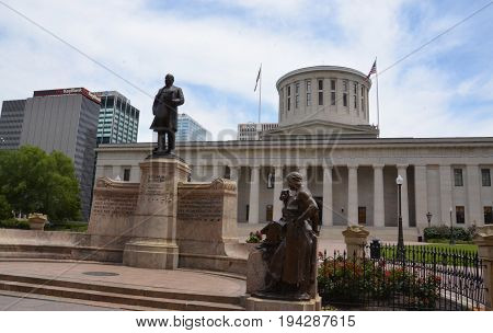 COLUMBUS OH - JUNE 28: The Ohio Statehouse in Columbus Ohio is shown on June 28 2017. It is a National Historic Landmark