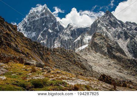 View of glaciers in Cordillera Blanca mountain range, Huascaran NP, Peru