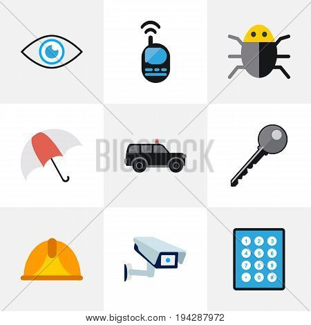 Set Of 9 Editable Procuring Icons. Includes Symbols Such As Look, Security Camera, Parasol And More. Can Be Used For Web, Mobile, UI And Infographic Design.