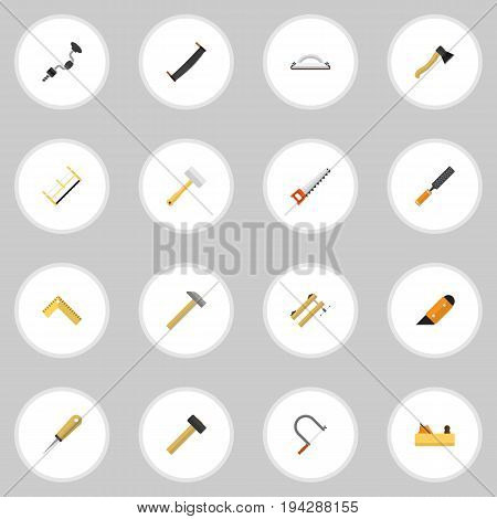 Set Of 16 Editable Equipment Icons. Includes Symbols Such As Jointer, Tool, Knife And More. Can Be Used For Web, Mobile, UI And Infographic Design.