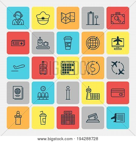Transportation Icons Set. Collection Of Fly Around, Airport Card, Road Map And Other Elements. Also Includes Symbols Such As Airport, Information, Reservation.