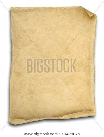 old scroll paper isolated on white with ends curled up. poster
