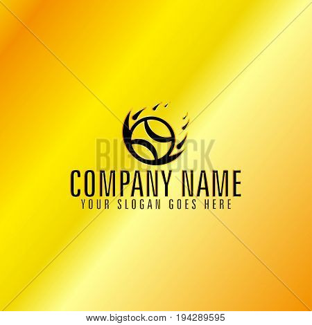 Golden Circle Flaming Ball with Golden Background Vector Illustration