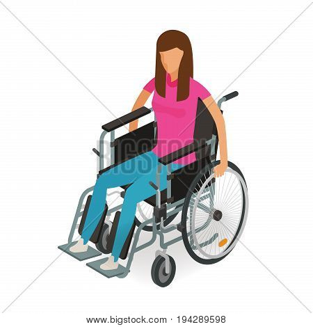 Girl, woman sitting in wheelchair. Invalid, disabled, cripple icon or symbol. Cartoon vector illustration