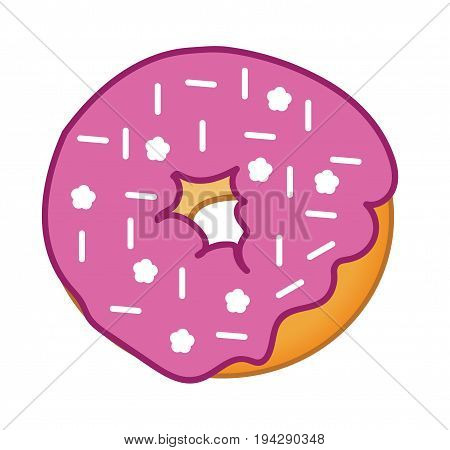 Yummy Isolated Pink Donut with White Sprinkles