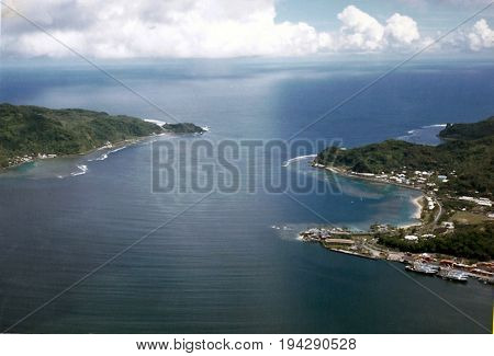 A view of the entrance to Pago Pago Harbor, from the top of Mount Alava, above Pago Pago, on the island of Tutuila, in American Samoa.