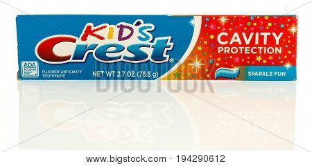 Winneconne WI - 7 July 2017: A box of Kids Crest toothpaste on an isolated background.