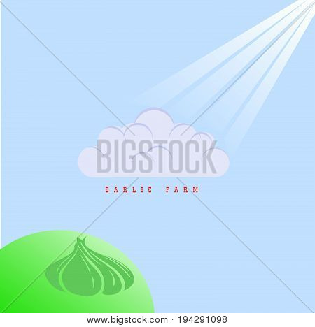 A stylish poster for a garlic farm. A shadow from a cloud on a hill in the background of a garlic bulb.