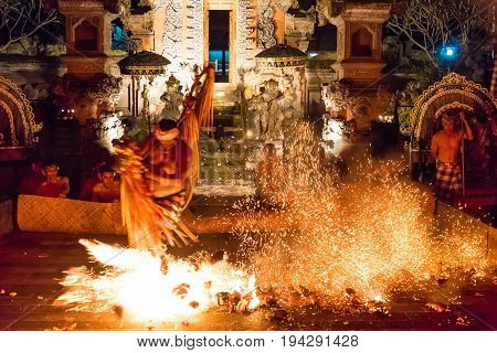 Kecak Fire And Trance Dance At Pura Dalem Taman Kaja, Ubud, Bali, Indonesia