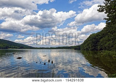 Beautiful cloud reflections at Locust Lake State Park in Schuylkill County Pennsylvania USA.
