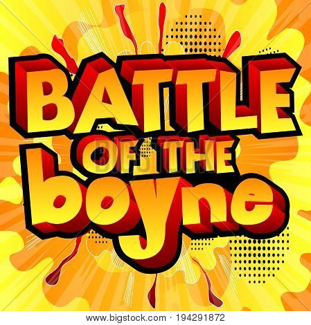 Illustrated banner greeting card or poster for Battle of the Boyne Day.