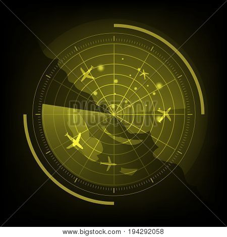 Yellow radar screen with airplane and map, stock vector