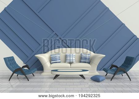 Blue and white living room are decorated with cream sofa, blue and white pillows, green arm chair, White floor tiled. This room for family or teens in relax day and every day of love. 3d render.