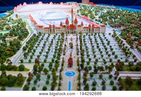 MOSCOW RUSSIA - July 06 2017 The model of the amusement park Dream Island which is planned to be built in 2018 in the Nagatinskaya floodplain in Moscow.