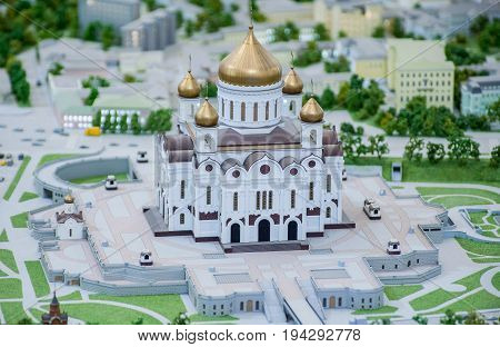 MOSCOW RUSSIA - July 06 2017 The Cathedral of Christ the Savior on the Architectural Model of Moscow