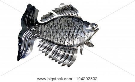 chromium-plated goldfish isolated over white and backgrounds .