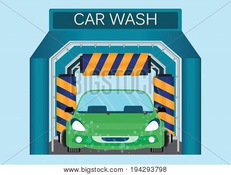 Automatic car wash car wash foam water car running through automatic car wash automatic car wash in action vector illustration.