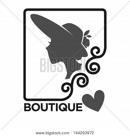 Woman fashion dress or hat boutique and atelier salon logo template for dressmaker shop. Vector isolated silhouette icon of lady and heart in ornate frame