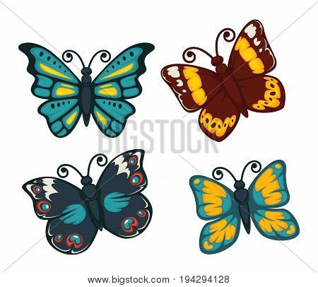 Butterflies colorful icons set. Vector isolated exotic types of swallowtail, tropical monarch and hawk-moth, machaon or luna butterfly for decoration or design elements