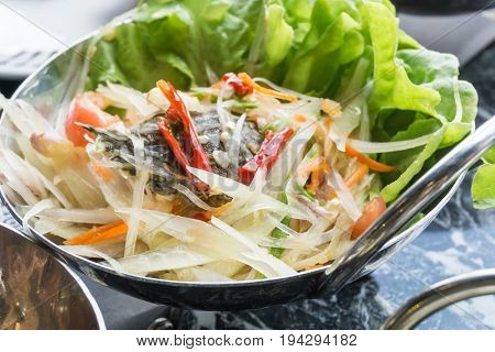 Papaya salad Som Tum Thai food .
