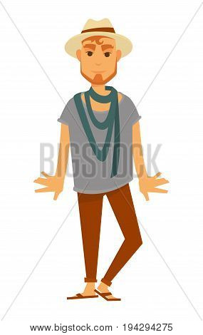 Man fashion model wearing trendy hipster or casual beach style clothes of t-shirt and trousers with shoes, summer hat and scarf. Vector flat isolated icon of male catwalk pose