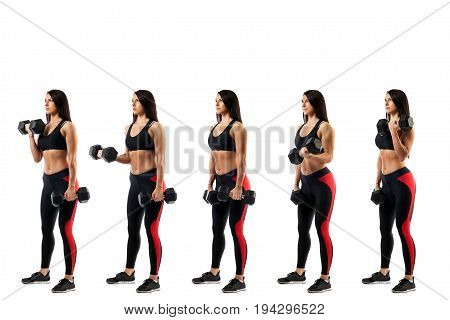 Stages of exercise with dumbbells on the biceps. Young sportive woman fitness model doing an exercise with dumbbells on biceps on white isolated background