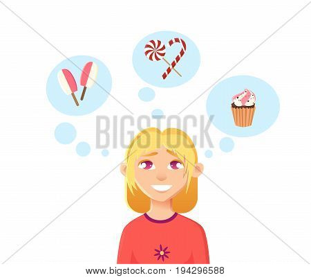 Childhood dreams. The girl dreams of ice cream, cake and sweets candy. Flat vector illustration