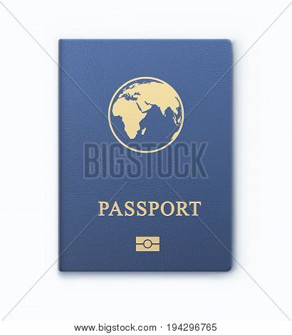 Vector illustration of blue passport with map international identification document for travel isolated on white background