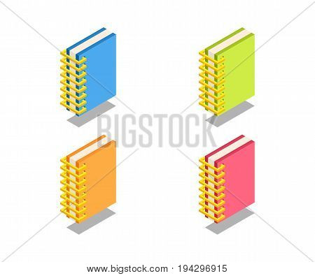 Notebook icon vector symbol in isometric 3D style isolated on white background.