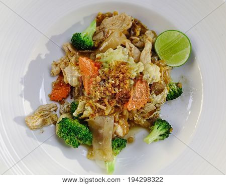 Chicken Pad Thai Dish Of Stir Fried Rice Noodles