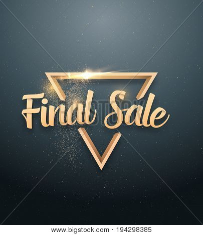 Illustration of Vector Sale Banner Sticker Template. Final Sale Lettering with Gold Glitter Effect