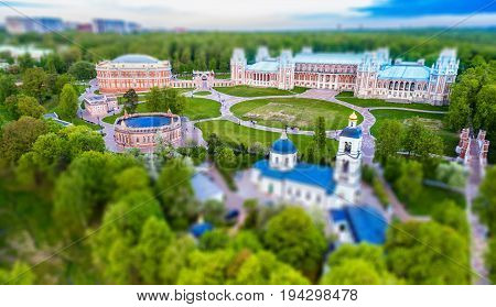 TSARITSYNO PALACE, RUSSIA - MAY 22, 2017. Tsaritsyno Museum in Moscow. Aerial view. Top view. Tilt-shift effect applied.