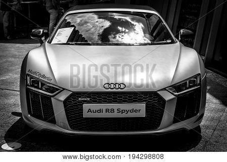 BERLIN - JUNE 17 2017: Sports car Audi R8 Spyder Quattro produced since 2011. Black and white. Classic Days Berlin 2017.
