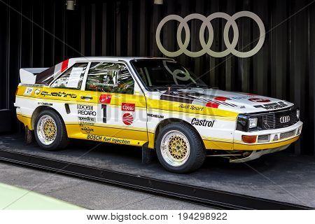 BERLIN - JUNE 17 2017: Sports car Audi Sport Quattro Pikes Peak 1985. Classic Days Berlin 2017.