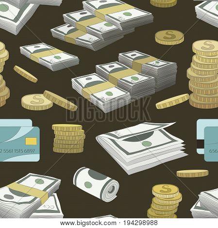 Money set pattern on color background. Vector illustration, EPS 10