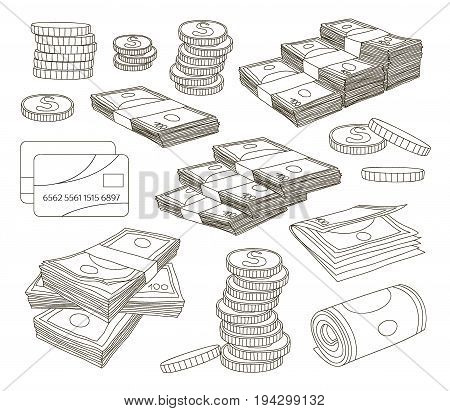 Collection of money isolated on white background. Vector illustration, EPS 10