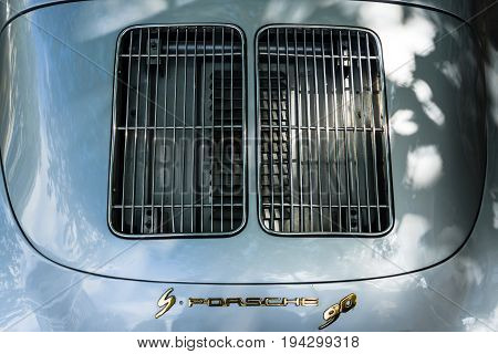 BERLIN - JUNE 17 2017: Ventilation grilles for air conditioning of the engine compartment of a sports car Porsche 356. Classic Days Berlin 2017.
