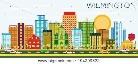 Wilmington Skyline with Color Buildings and Blue Sky. Business Travel and Tourism Concept with Modern Buildings. Image for Presentation Banner Placard and Web Site.