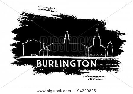 Burlington Skyline Silhouette. Hand Drawn Sketch. Business Travel and Tourism Concept with Modern Buildings. Image for Presentation Banner Placard and Web Site.