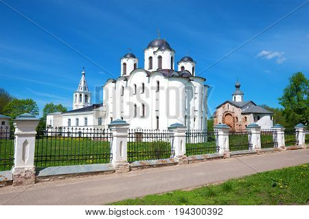 View of the St. Nicholas Cathedral (1113) on Yaroslav's Court on a sunny May day. Veliky Novgorod, Russia