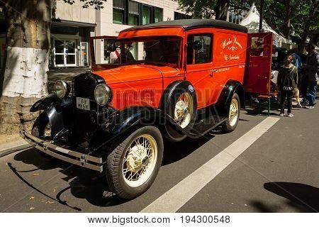 BERLIN - JUNE 17 2017: Vintage car Ford Model A Panel Truck. Classic Days Berlin 2017.