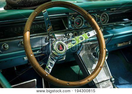 BERLIN - JUNE 17 2017: Cabin of a full-size car Pontiac Bonneville 1963. Classic Days Berlin 2017.