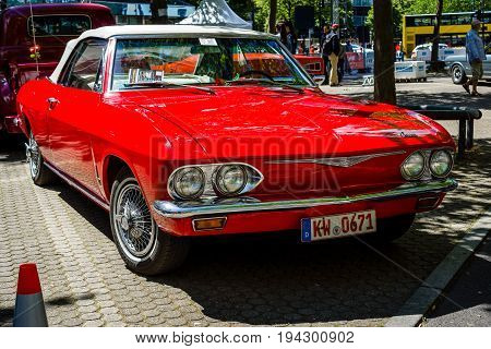 BERLIN - JUNE 17 2017: Compact car Chevrolet Corvair Monza convertible (second generation) 1969. Classic Days Berlin 2017.