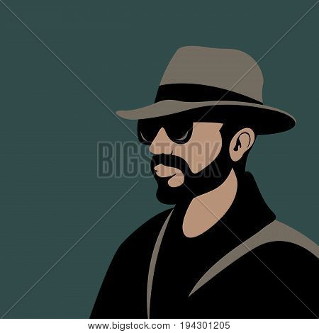 men  head  hipster  vector illustration Flat style profile side