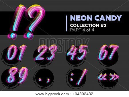 Vector Neon Character Typeset. Glowing Numbers on Dark Background. Glitch Effect. Shining Candy Alphabet. Hand Drawn Retro Font for Summer Poster Night Club Banner Sale Banner.