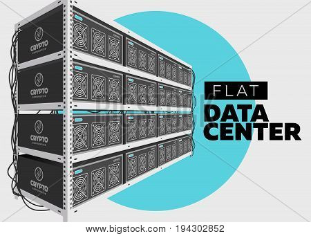 Flat Vector Isolated Illustration of Data Center in Perspective. Grey Computer Rack. Bitcoin Mining Farm Exchange Service. Web Hosting Provider. Data Storage. Network Internet Database.