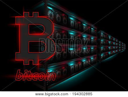 Detailed Vector Illustration of Datacenter in Dark Room. Racks of Glowing Computers in Perspective. Bitcoin Mining Farm. Banner for Cryptocurrency Market Hosting Company. Bitcoin Logo.